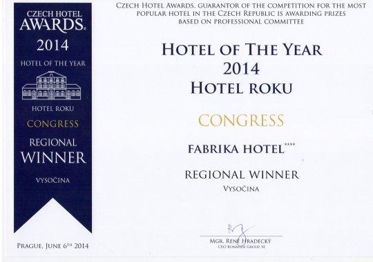 fabrika hotel vyhrál kategorii KONGRESOVÝ HOTEL v soutěži Czech Hotel Awards 2014