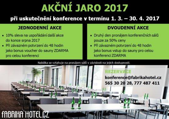 AKČNÍ JARO 2017 - výhodná nabídka pro konference