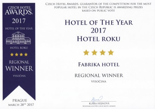 fabrika hotel získal prestižní ocenění Hotel roku 2017 v kategorii ****