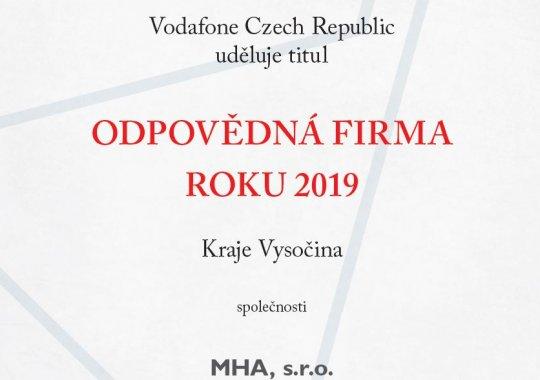 MHA je ODPOVĚDNOU FIRMOU ROKU 2019 kraje Vysočina