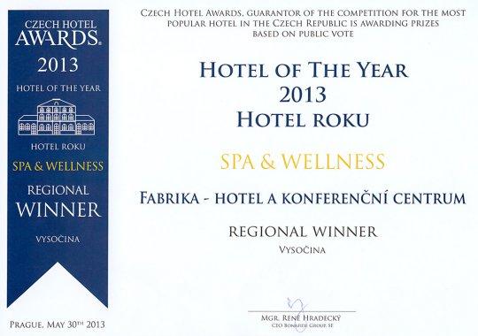 Ocenění v Czech Hotel Awards 2013 pro fabrika hotel****